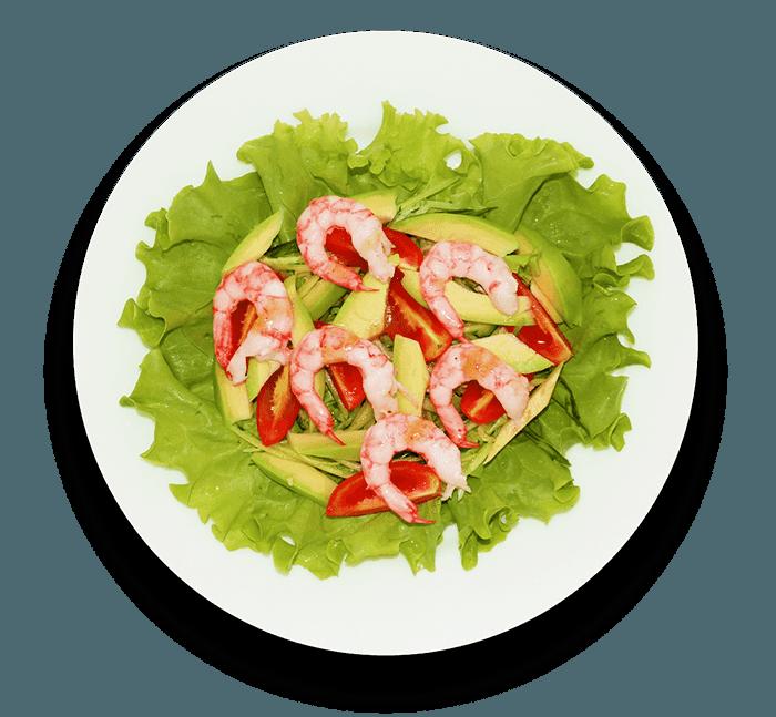 Салат из креветок и авокадо с огурцом